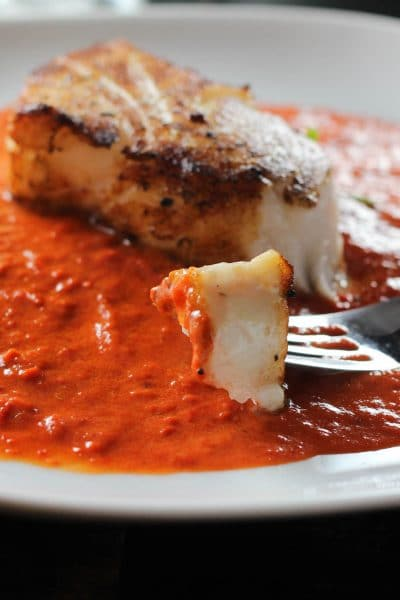 Pan Roasted Chilean Sea Bass with Roasted Red Pepper Sauce