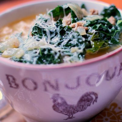 Rustic Turkey Sausage and Kale Soup