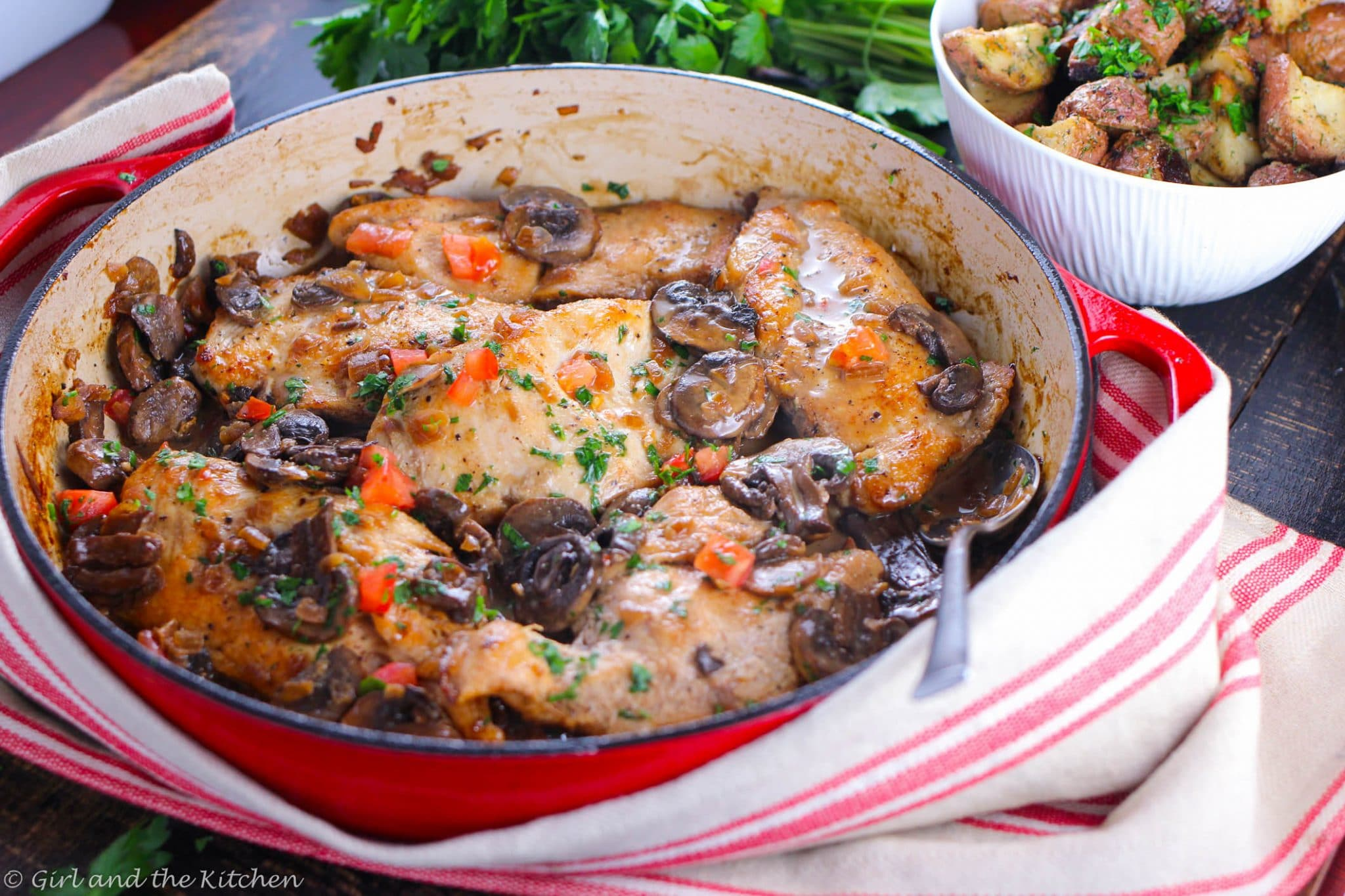 A easy and healthy chicken marsala is just 20 minutes away!  This classic Italian favorite full of mushrooms and sweet marsala wine.