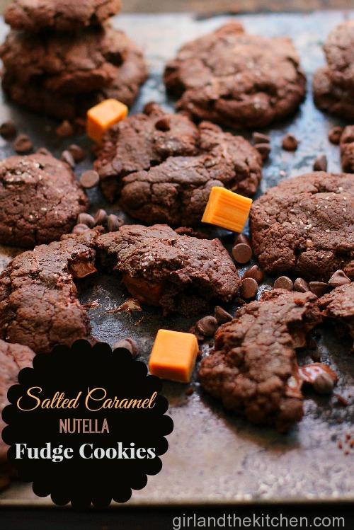 Salted Caramel and Nutella Stuffed Fudgy Cookies Girl and the Kitchen Pinterst -023 Girla and the Kitchen