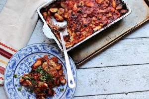 Greek Style Baked Beans -Girl and the Kitchen Feature