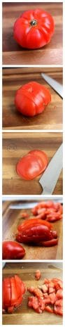 A super easy step by step tutorial on how to slice or cube a tomato