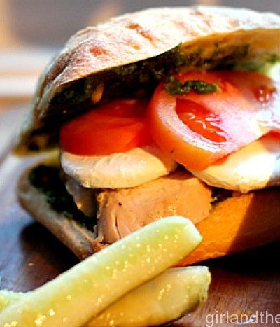 Pesto Chicken Caprese Sammy. Girl and the Kitchen
