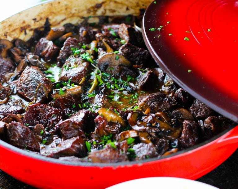 Fragrant mushrooms and tender meat are combine with fresh herbs to give this classic beef stew a gourmet twist.