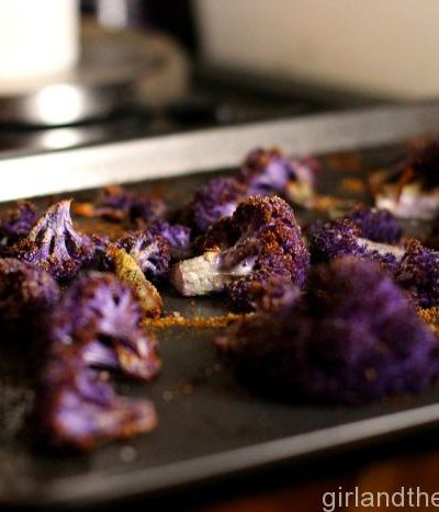 Oven Roasted Garlic and Parmesan Purple Cauliflower