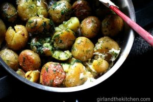 Pan Roasted Dill and Garlic Potatoes-Feature
