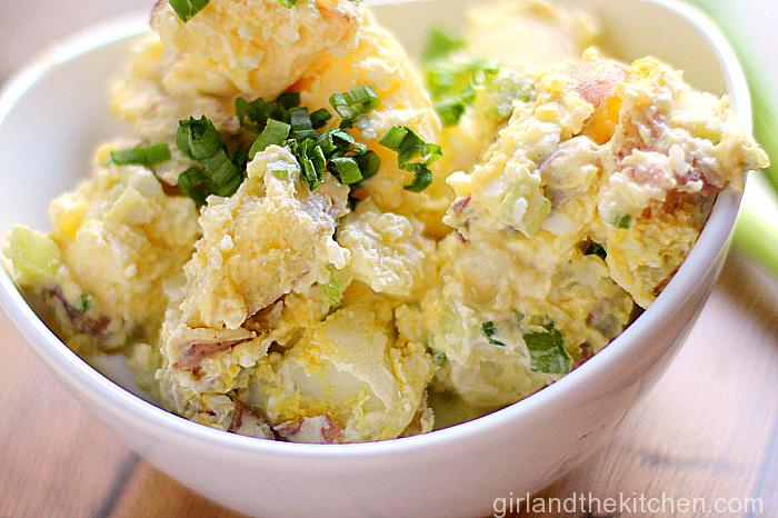 A classic potato salad full of crunchy veggies and tossed in a creamy and tangy dressing!  Ideal for any BBQ or summer outing!