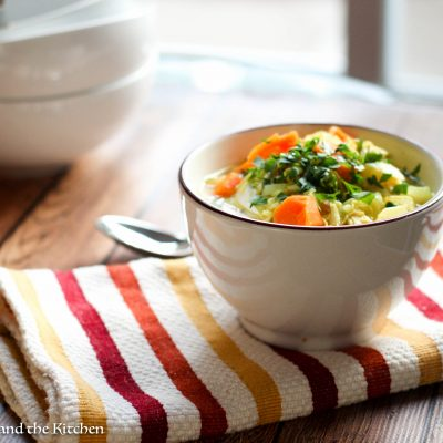 A class soup brightened up with some fresh flavors and colors! Perfect to beat those ailing colds and sniffles.