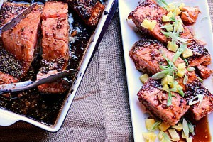 Pineapple Teriyaki Salmon from the Girl and the Kitchen