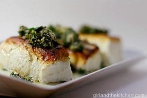 Seared Halibut with Chili Gremolata from the Girl and the Kitchen