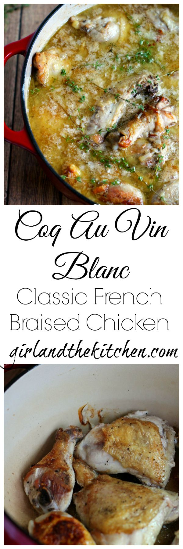 Coq Au Vin Blanc is a classic French dish. White wine braised chicken surrounded by a heavenly and simple sauce