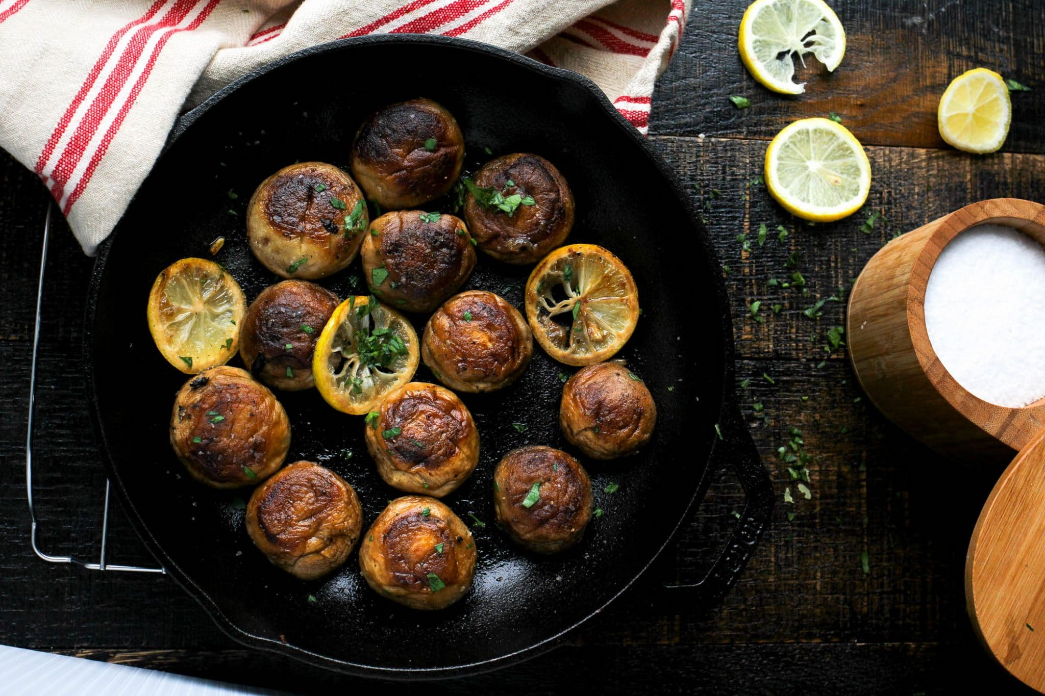 One Pan Roasted Mushrooms with Lemon Butter Sauce - Girl and the ...