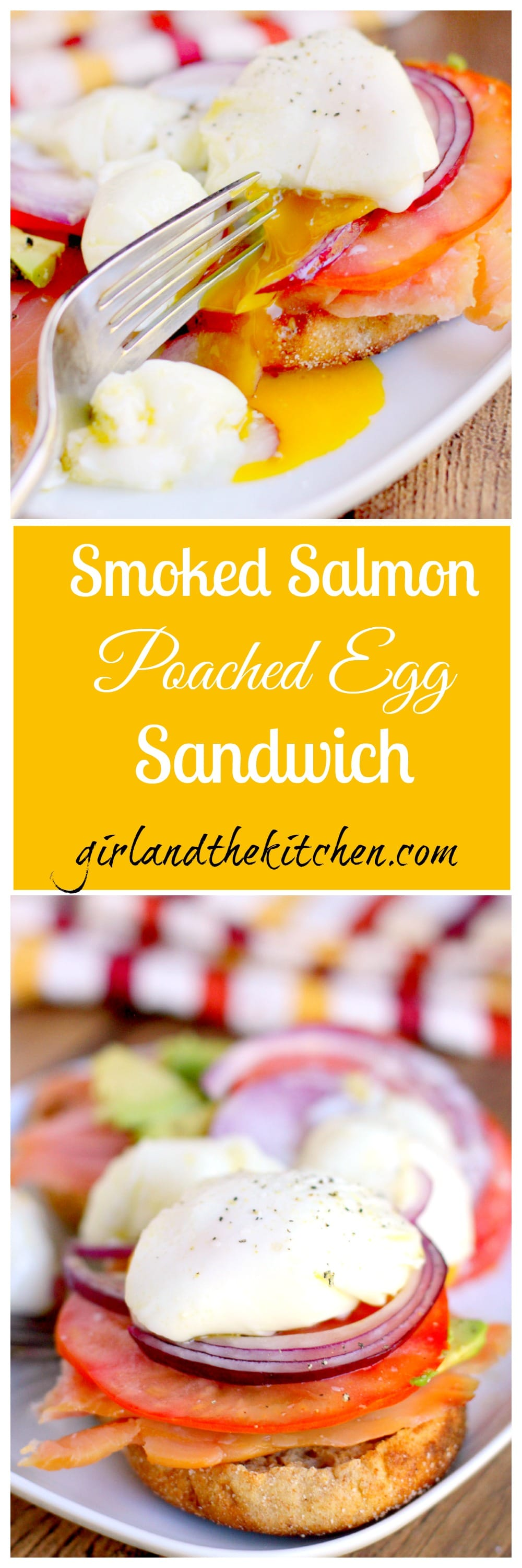 This smoked salmon and poached egg sandwich is both elegant and delicious! This classic egg breakfast sandwich features smoked salmon and a poached egg!