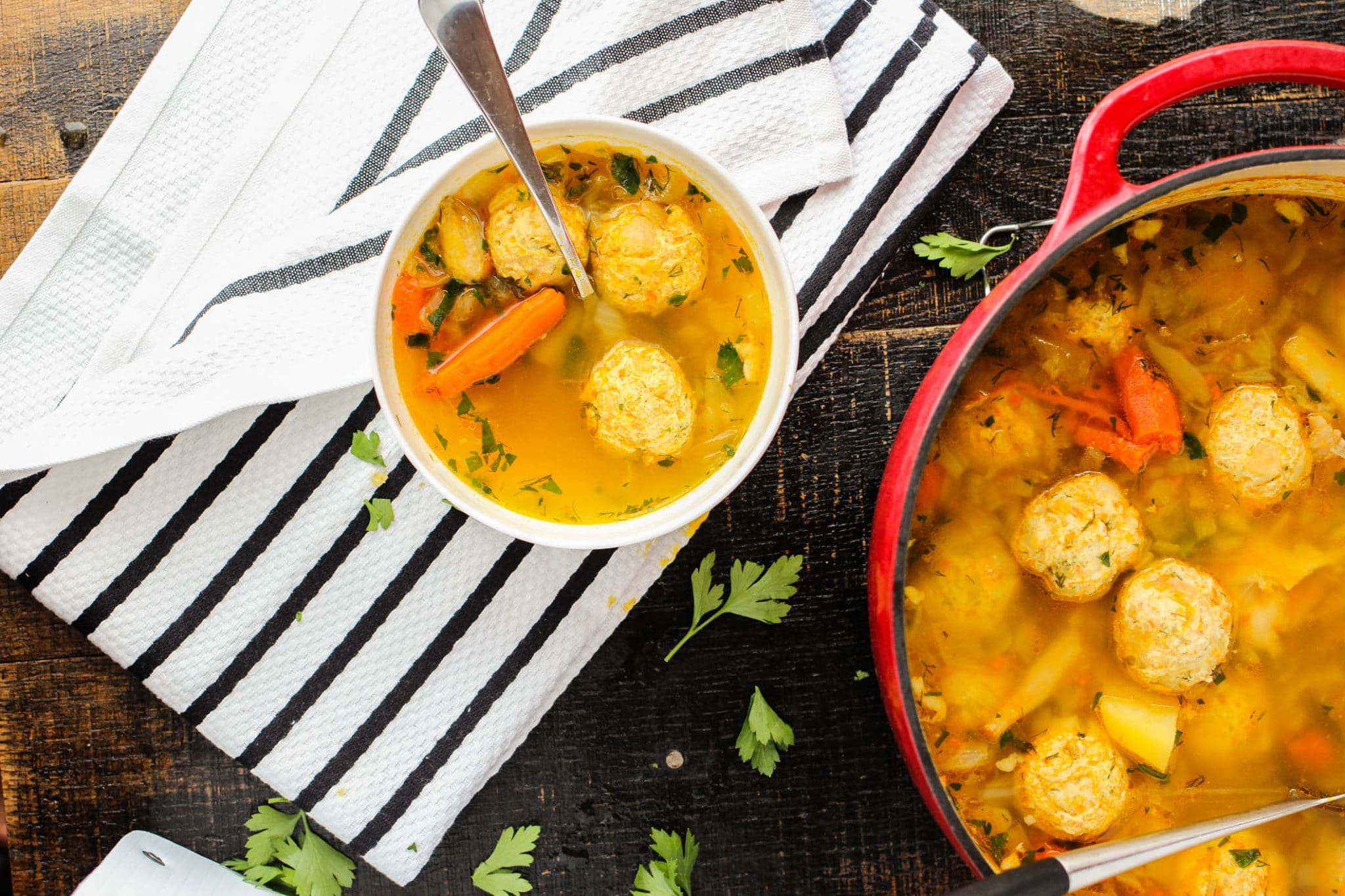 My Russian Meatball Soup is loaded with beautiful and tender chicken meatballs floating in a warm and comforting broth. It's an ultimate sniffle soother!