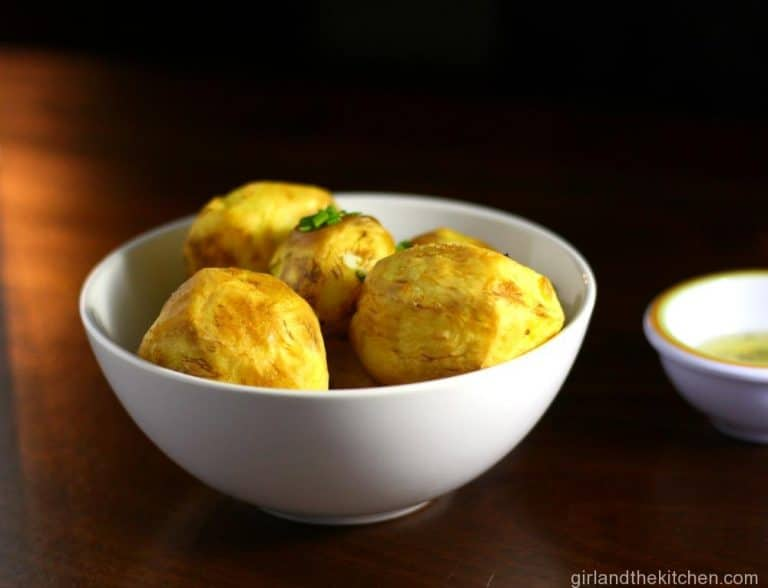 Golden Potatoes with Garlic Chive Butter from the Girl and the Kitchen