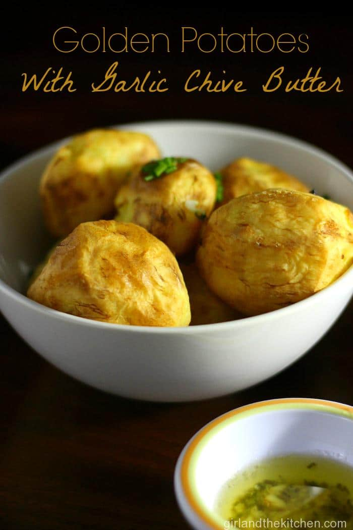 These beauties show the simplest way to get gorgeously roasted potatoes that are a super crunchy perfect bite! Perfect as an appetizer or side dish, serve it with the delicate garlic chive butter and this is a real crowd pleaser! Plus learn the super easy technique to get gorgeous and crispy roasted potatoes!