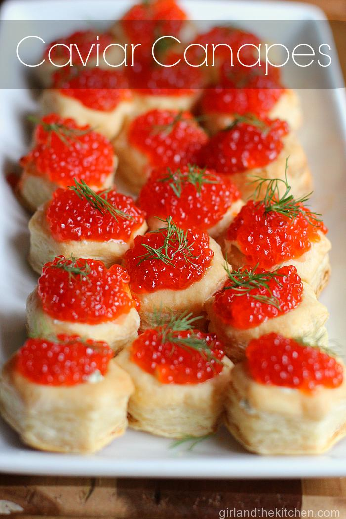 Canapes are just a fancy French way of saying mini appetizers.  These little bite size puff pastries are stuffed with a savory butter and bright, briny caviar.