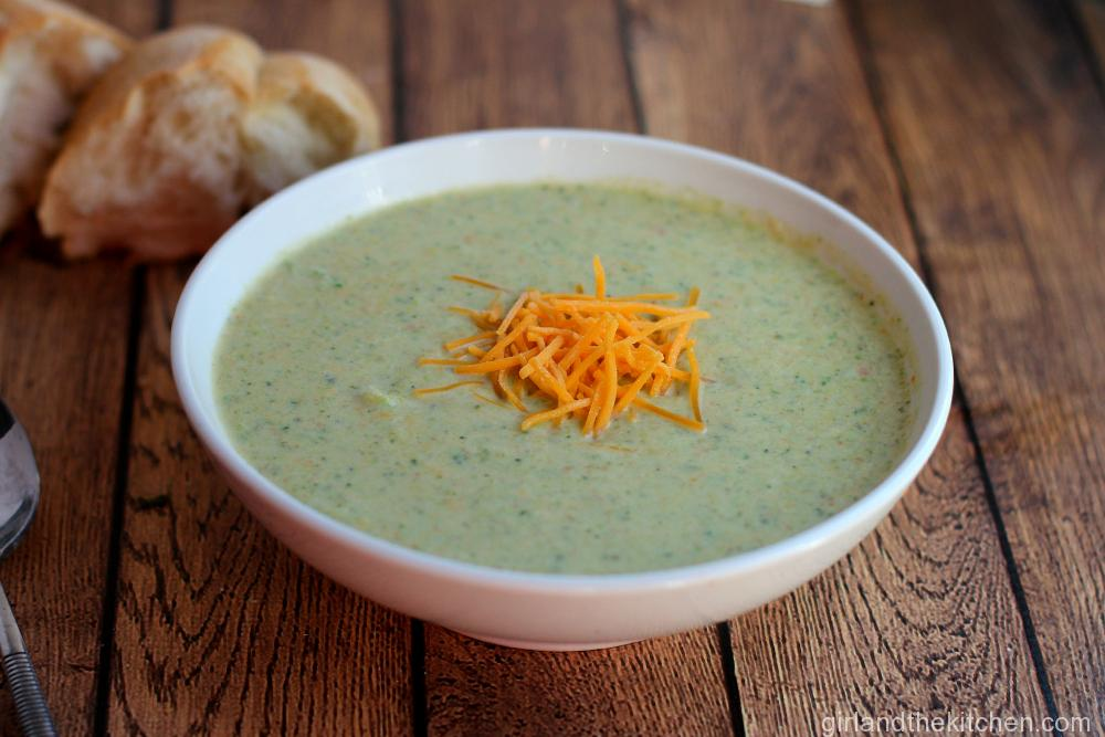 Copycat Panera Broccoli Cheddar Soup from the Girl and the Kitchen