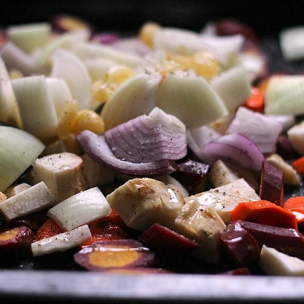 A combination of brightly colored root vegetables, roasted to perfection! Both gluten free and Paleo friendly!