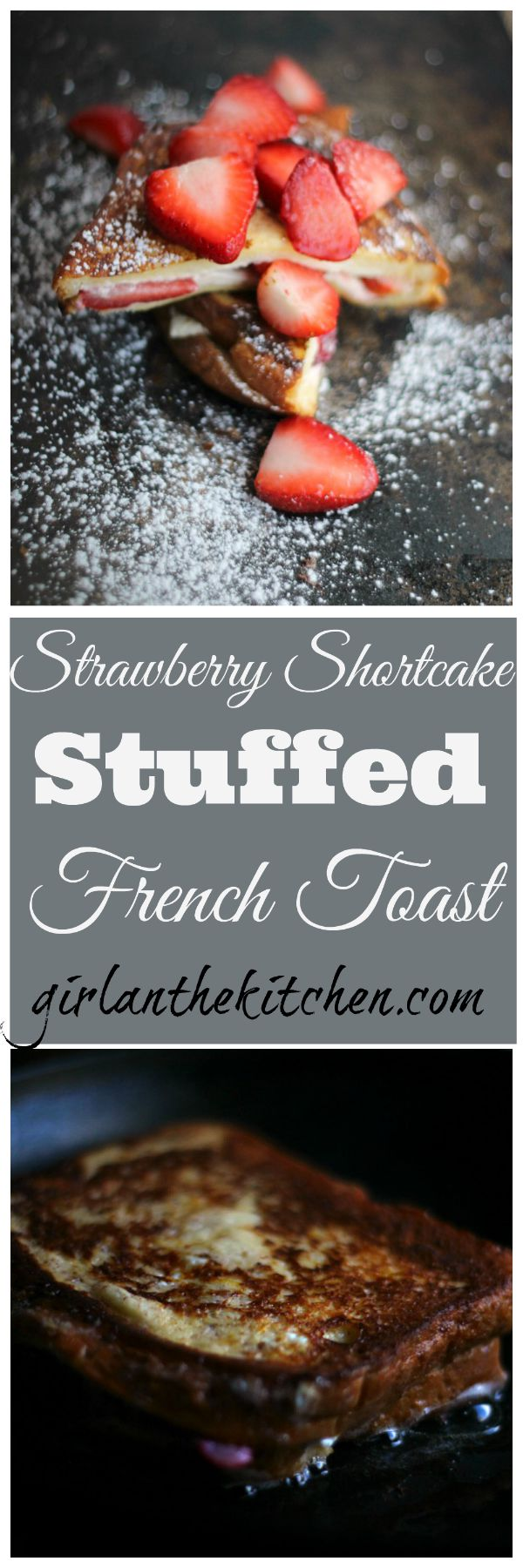 A delicious twist on the classic French toast breakfast favorite! Full of juicy strawberries and sweet cream cheese this stuffed French toast is perfect for an elegant brunch or a fun breakfast at home!