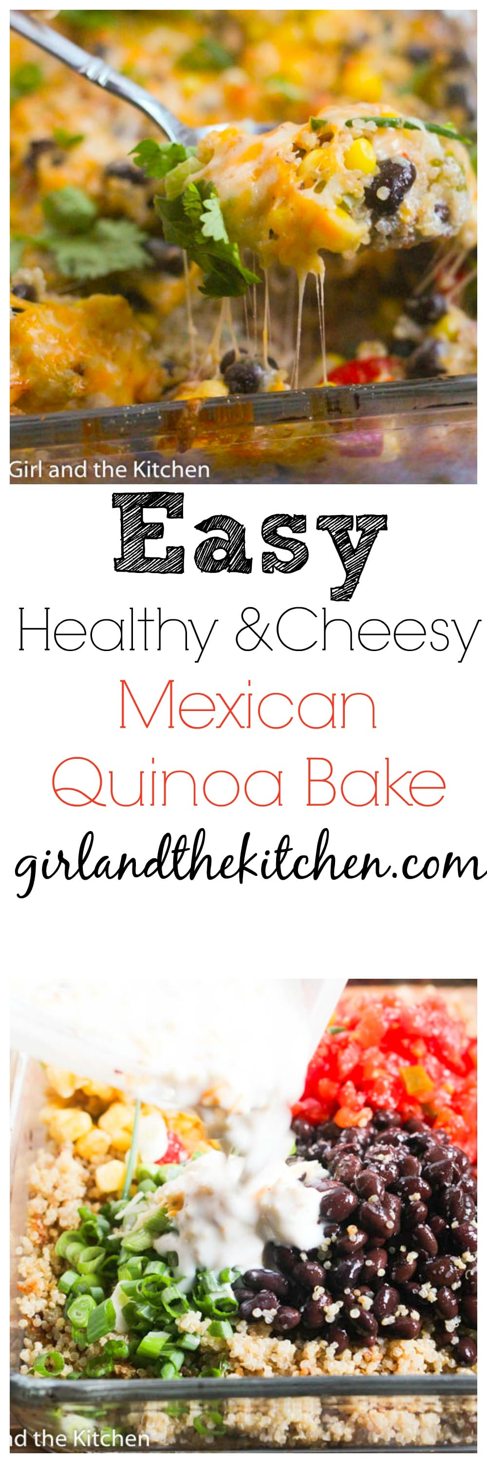 This EASY and Healthy Cheesy Quinoa Bake will make your dinner done in a flash! Full of protein, good for you carbs and loaded with flavors!