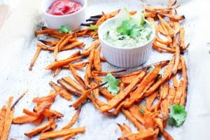 Spicy Baked Sweet Potato Fries & Healthy Vegetarian Aioli