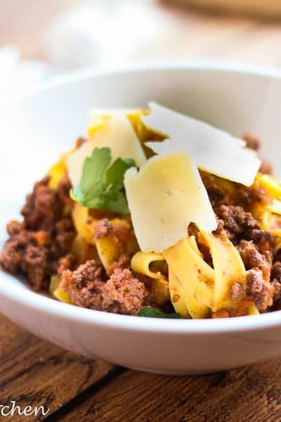 A classic Italian Red Wine and Beef Ragu ideal for a weeknight dinner or a fancy dinner party! PLUS it's super freezer friendly!