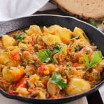Full of aromatic summer vegetables and sweet and tender yellow potatoes this stew feels like it has been cooking for hours and it's all done in 30 minutes!
