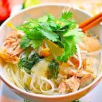 This Vietnamese Chicken noodle soup combines a perfectly fragrant and light broth with rice noodles, chilies and fresh cilantro for the ultimate slurping