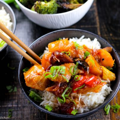 Roasted Vegetable Sweet and Sour Chicken with Ginger Dusted Broccoli