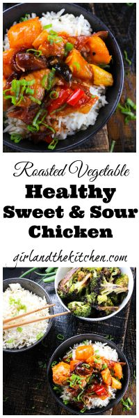 Full of aromatic, colorful roasted vegetables and a zesty and easy sauce this sweet and sour chicken will change your restaurant carryout habits forever!