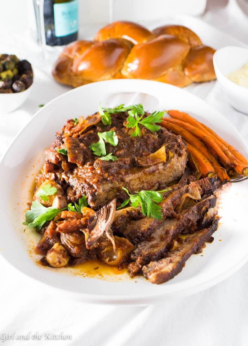 A simple and mouthwatering oven cooked brisket that is truly fuss free! Delicious, tender and freezer encouraged!!! This is the ULITMATE crowd pleaser! This is part of my perfect high holiday meal! With plenty of make ahead and freeze options...your dinner table this year will be a breeze!