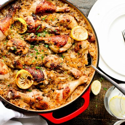 One Pot Roasted Greek Chicken and Rice