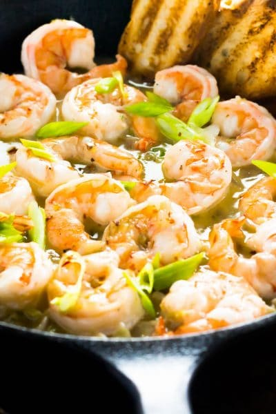 It's tough to beat these spicy garlic shrimp full of a golden white wine sauce. The perfect dish for a fast meal that serves up as gourmet as any restaurant dish.