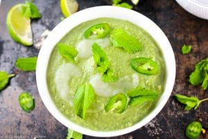 Serrano Pepper and Sweet Pea Creamy Vegan Soup