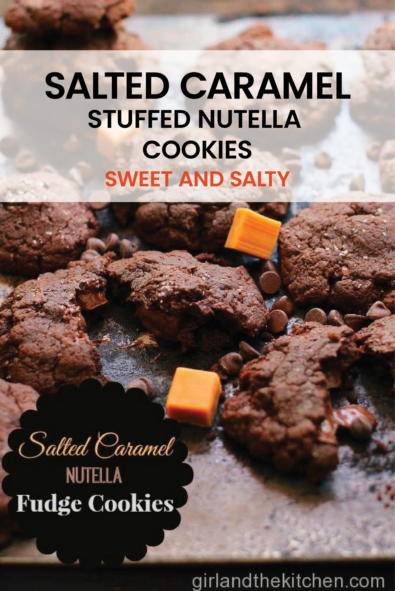 Super fudgy Nutella cookies stuffed with salted caramel and baked until gooey and warm inside. #nutellacookoies #nutella