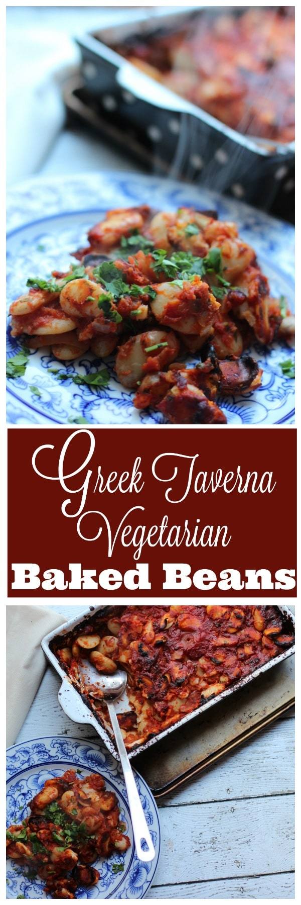 This is the ultimate one pan casserole!!! A filling vegetarian meal filled with giant baked beans and some classic Greek flavors. The perfect vegetarian entree or side dish to any meal.