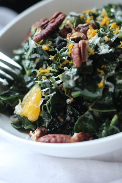 Warm Tuscan Kale Salad with Garlic Chips, Oranges and Pecans