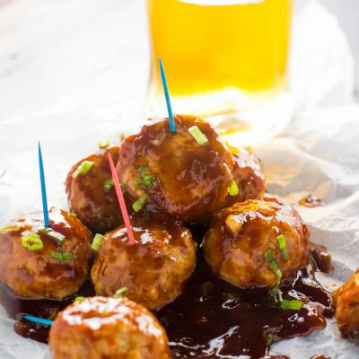 Tender and delicious chicken meatballs that come together in under 30 minutes, all dipped in a heavenly chipotle and bourbon glaze. Perfect for a fast and healthy dinner or a cute appetizer!