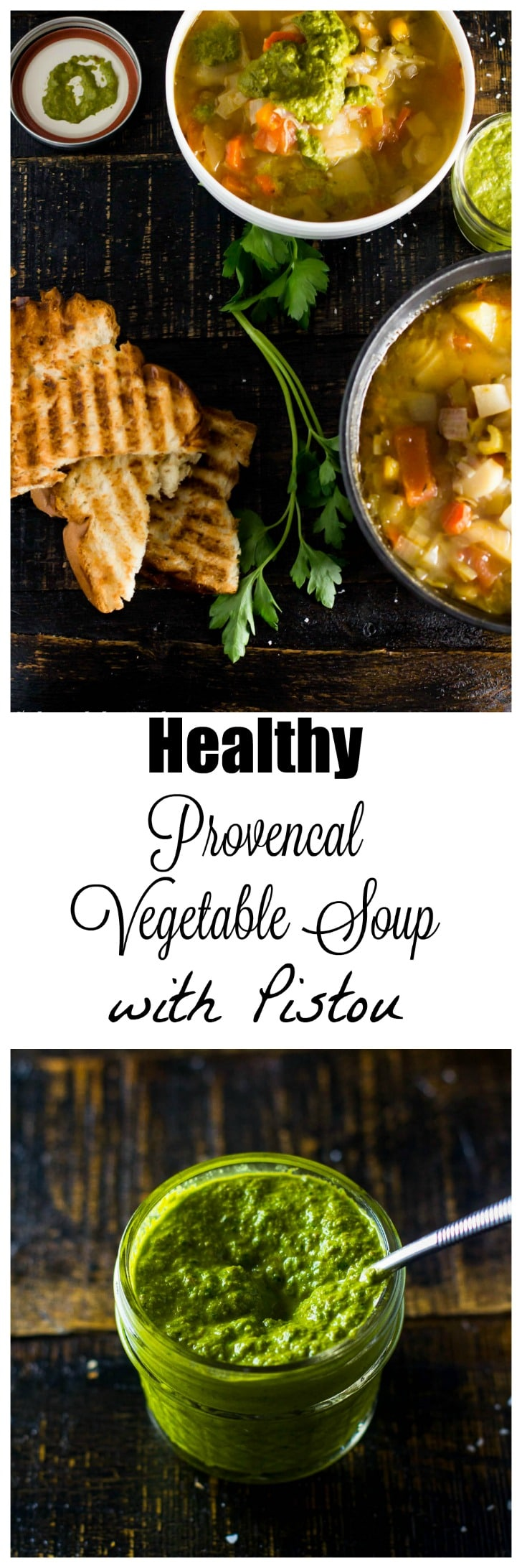 A classic French country vegetable soup loaded with fresh good for you veggies and finished off with an unforgettable dairy free French pesto. Comfort food that is both healthy and hearty!
