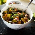 Classic roasted potatoes baked with classic Mexican spices and tossed together with a zesty pico de gallo! Great served warm or as a healthy alternative to a potato salad!