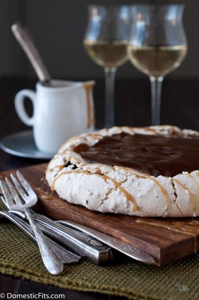 Coconut-Pavlova-with-Cocoa-Pudding-and-Caramel-Sauce-parve_-388x585
