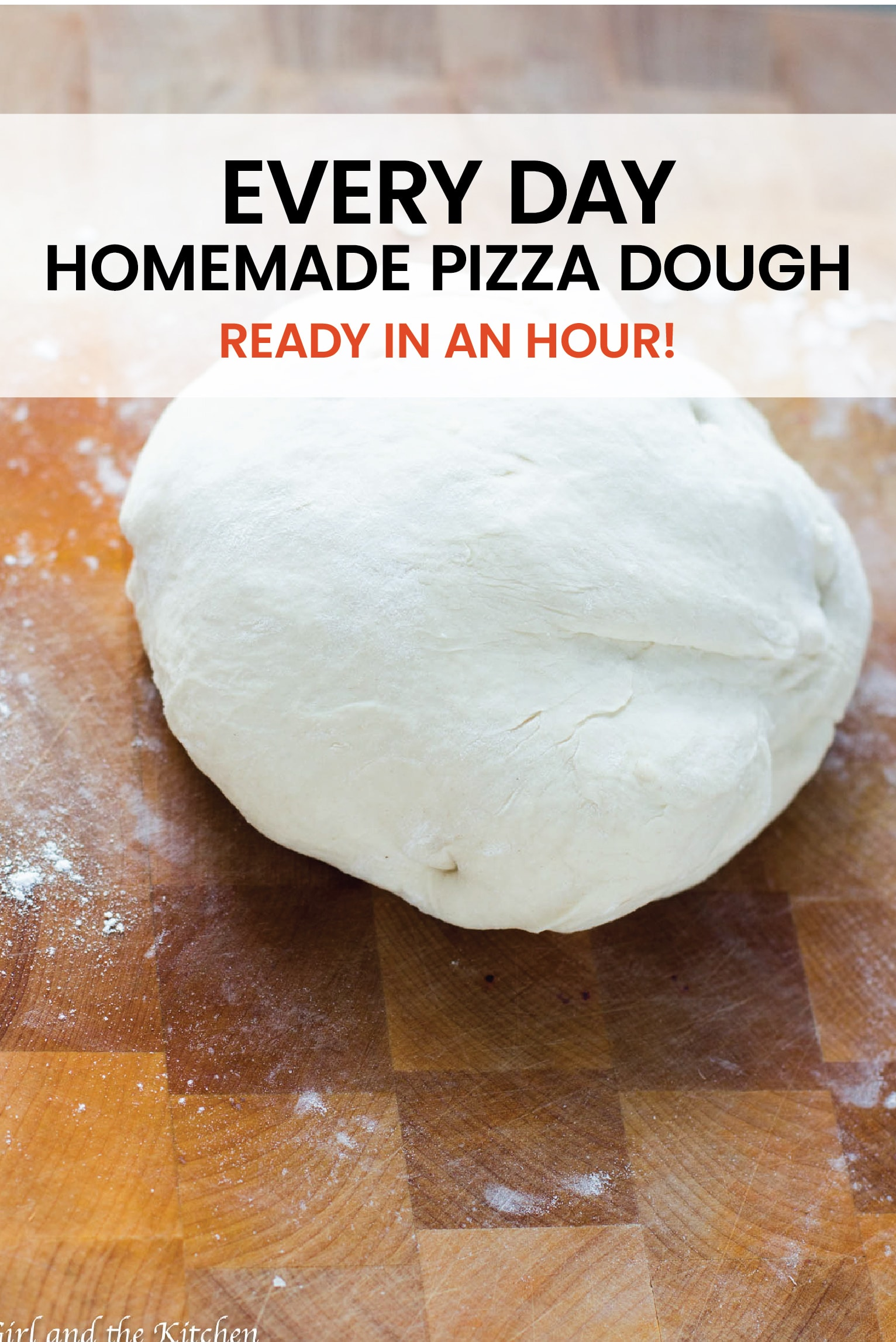 A simple every day homemade pizza dough that comes together with just a few ingredients and is ready in an hour! #pizza #pizzadough