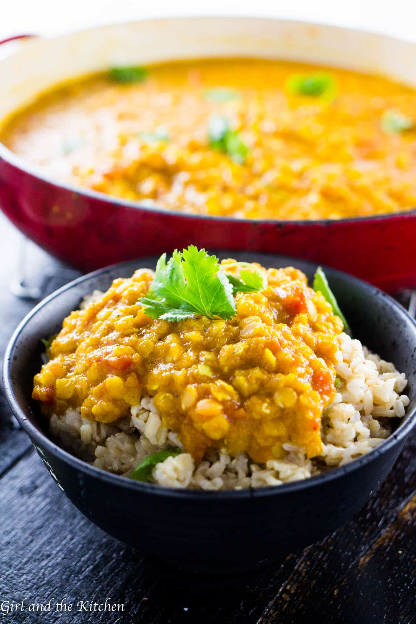 This easy and delicious yellow lentil dal is full of protein and bright flavors! It's great on its own or served over fragrant Basmati rice for a quick and healthy mid-week meal!