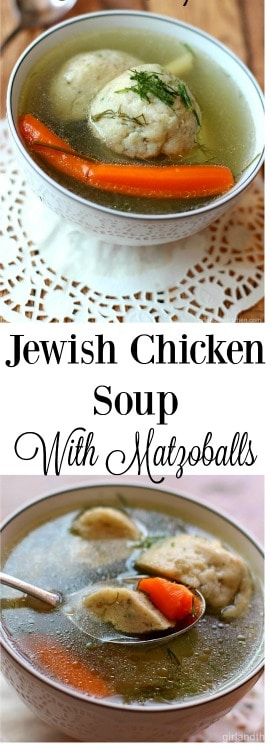 The classic Jewish chicken soup with lighter than air matzoballs.