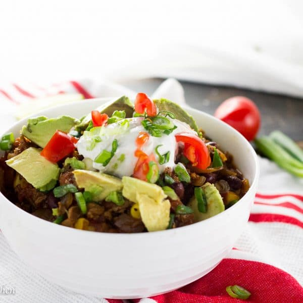 This vegetarian chili will knock your socks off! A complete and uber flavorful meal in one bowl full of protein and good for you veggies! This chili tastes so good you will never miss the meat!