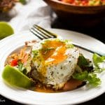 Keep things healthy, crispy and delicious with this hash brown breakfast tostada. Topped with salty smoked salmon, a cucumber salsa and a runny fried egg, this is the perfect breakfast when classic breakfasts are a bore.