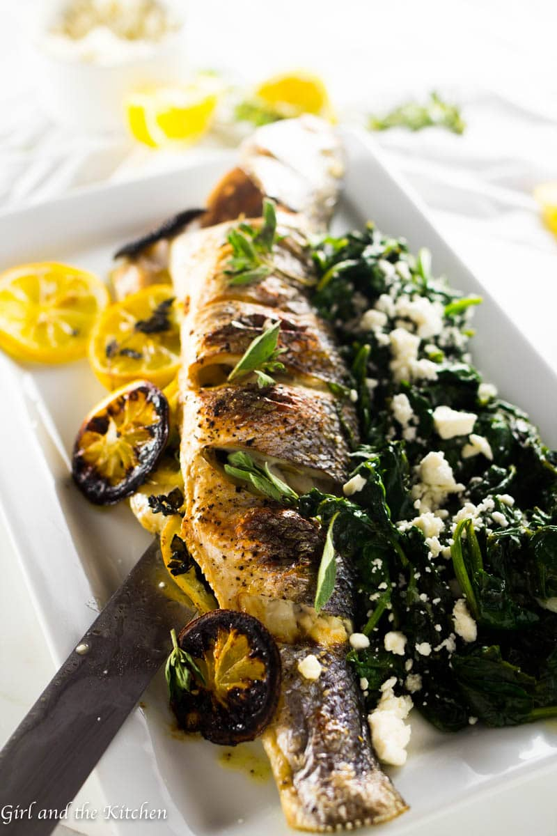 Greek whole roasted branzino girl and the kitchen this recipe for greek roasted branzino is perfect for a simple and healthy weeknight meal that forumfinder Image collections