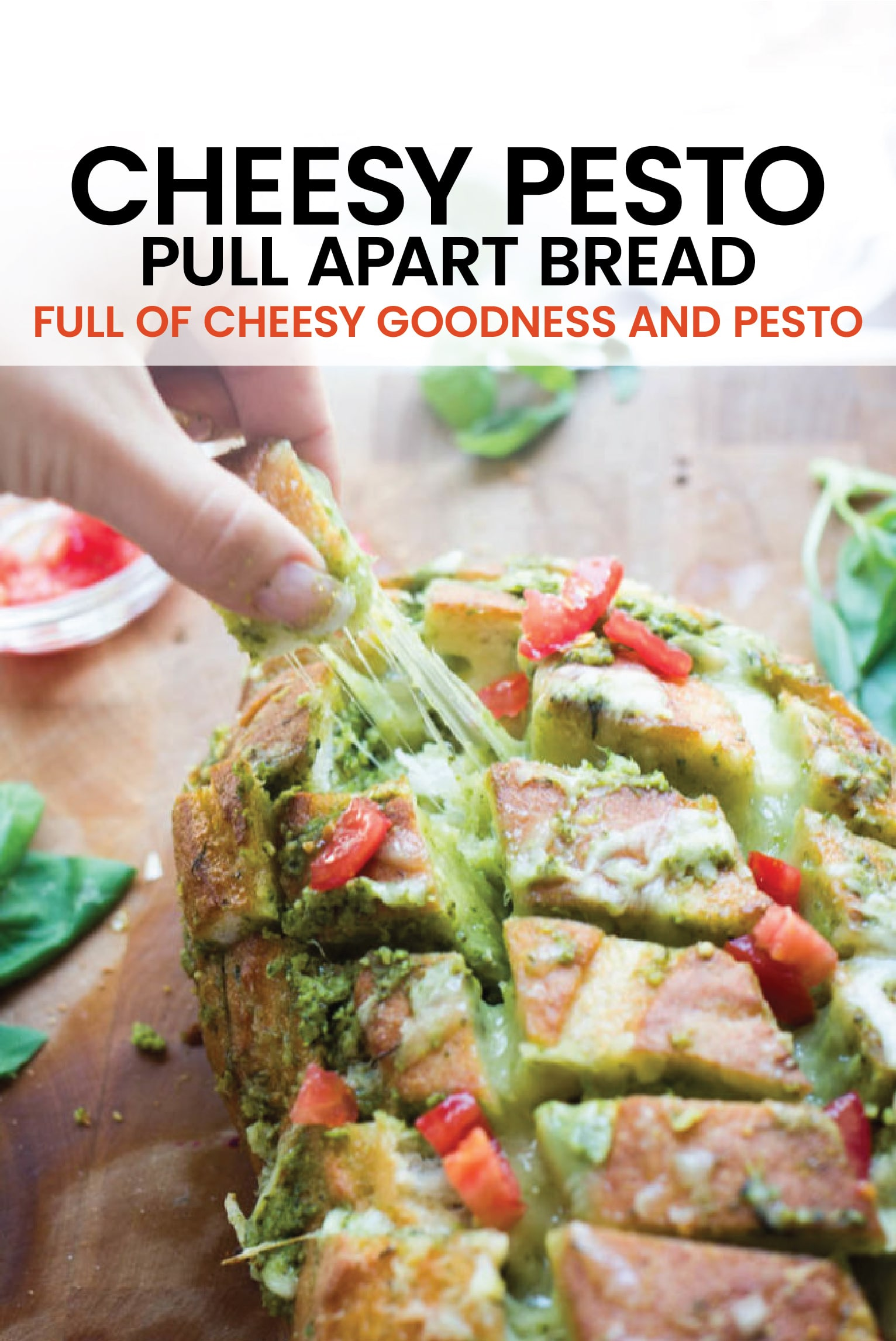 This scrumptious pull apart bread full of cheesy goodness and pesto is the ideal way to use up all that fresh basil hanging around in your garden now!  #pesto #pullapartbread