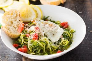 Roasted Garlic Pesto Zoodles in a Garlic Broth